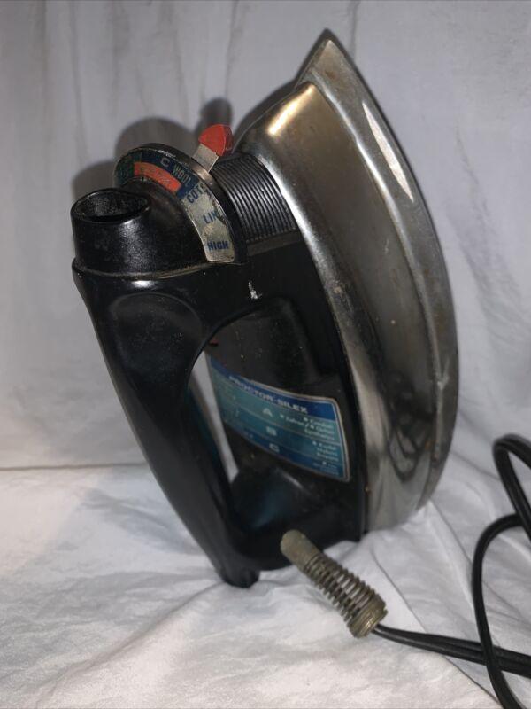 VINTAGE Proctor Silex USA MADE Chrome/Black Steam Iron WORKS