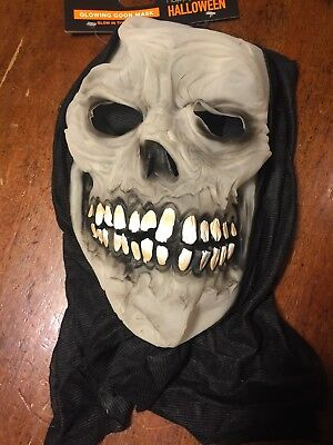 NWTs Halloween Spooky Glowing Goon Mask Vinyl w/ Hood Glow In The Dark Skeleton