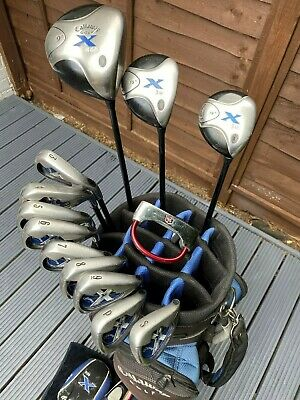 LOVELY SET OF CALLAWAY X GOLF CLUBS IN CALLAWAY BAG. INCLUDES TOWEL, BALLS, TEES