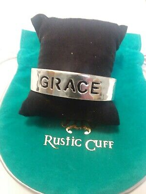 Rustic Cuff Grace Quote Hammered Vintage Silver Bracelet