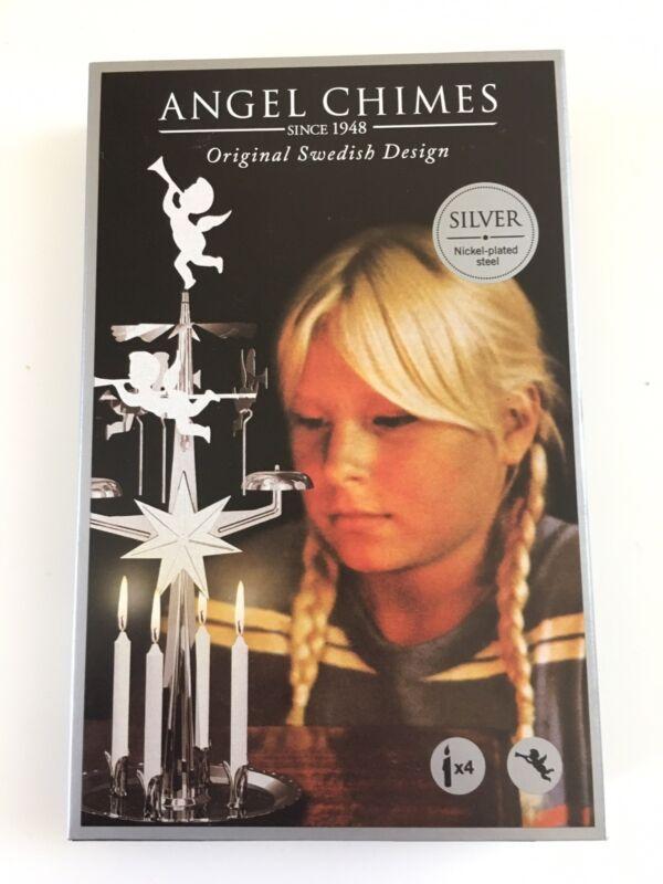 Swedish Angel Chimes / Original Swedish Design With 4 Candles - SILVER