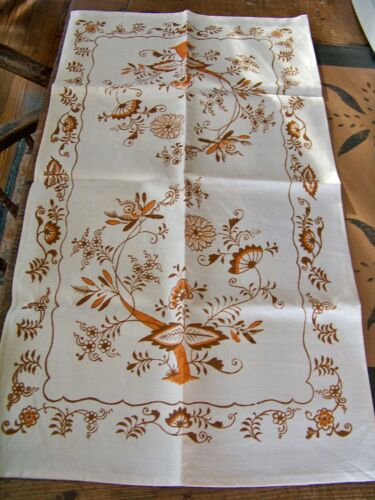 """Rare Color Vintage Never Used Brown Onion Not Blue Tea Towel Runner 17"""" x 30"""""""