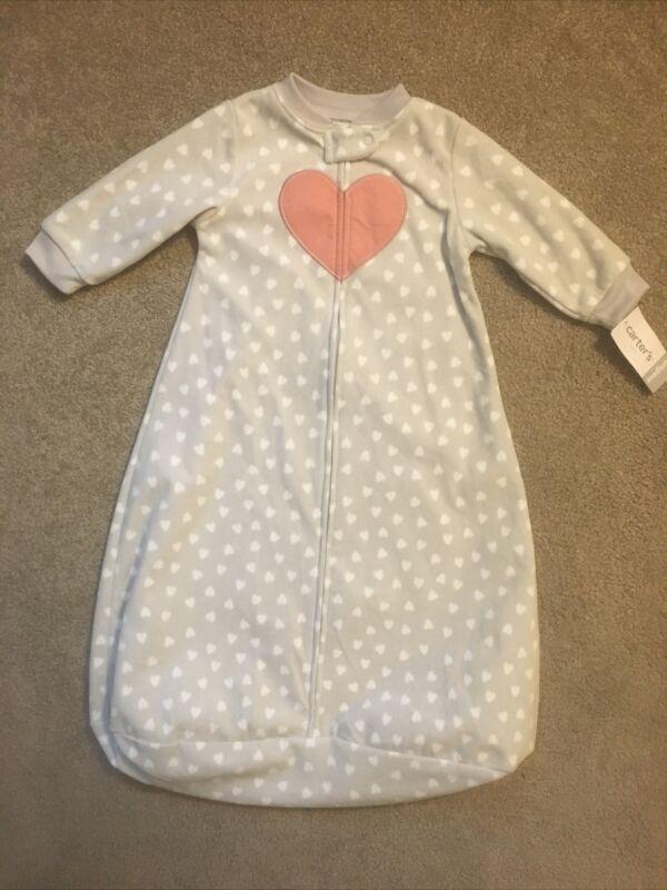 Infant Girls Carter's size M (6-9 mo.) Gray zip up Sleep Bag/Sack Heart Soft NWT