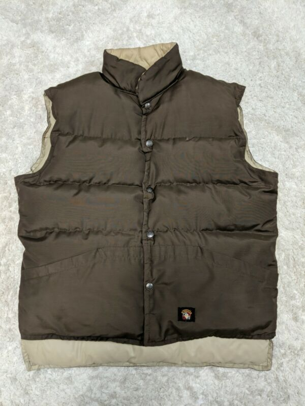 Vintage Stearns Puffer Vest Medium Reversible Brown