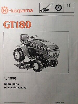 Husqvarna Gt180 Lawn Garden Tractor Parts Manual 1990 M18 Magnum Twin Gear 18 Hp
