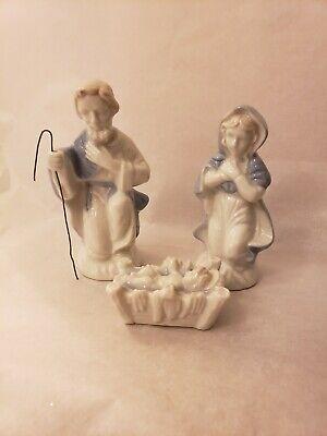 Blue White Porcelain Nativity Set Mary Joseph Baby Jesus Japan #1735