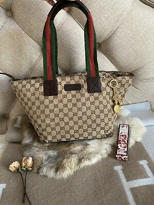 Authentic VINTAGE GUCCI Web Sherry Line Hand Bag GG Canvas Leather Brown w/charm
