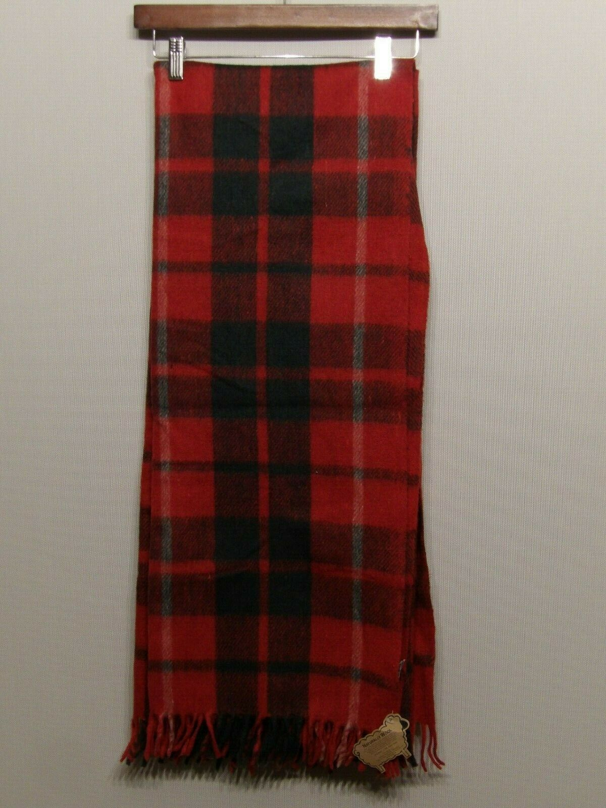 Dii Wool Blanket Throw With Fringe Red Green White Plaid War