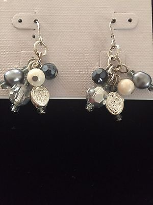FAUX PEARL AND BEADS CLUSTER EARRINGS DROP PIERCED BY GOOD MORNING U.S.A.