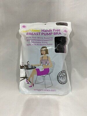Simple Wishes Hands-Free Breastpump Bra, X-Small-Large, Black, New