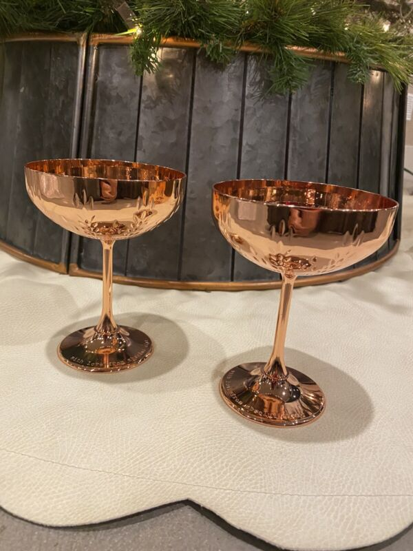 ABSOLUT ELYX copper stemmed cocktail cup  SET OF 2 New in BOX