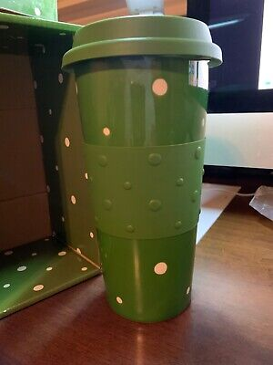Temp-tations Green w/White Polka Dot 16 oz.Travel Tumblers Hot or Cold Beverages