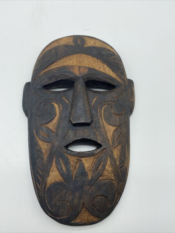 Hand Carved Wood Mask Palawan Philippines Tiki Tribal African Small Wall