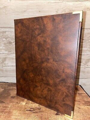 Vtg Hazel Brown Faux Leather Writing Note Pad Folio Portfolio Folder Holder