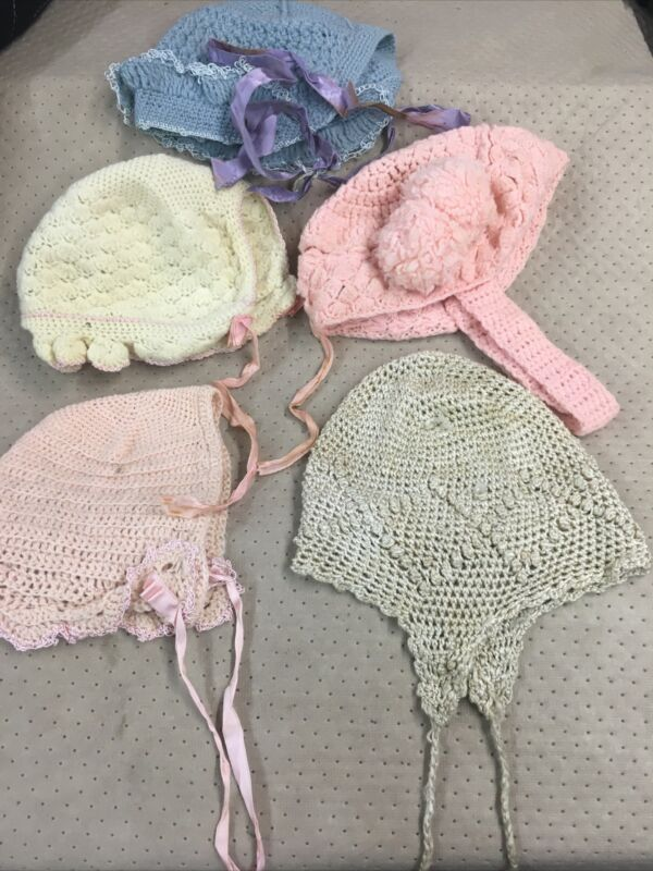 Antique Vintage Lot 5 Hand Crocheted Knit Baby Bonnet Hat Lining Great Doll Too