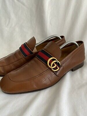 Gucci Tan Leather Loafers Mens Size 9 EU 43 Web Double GG Logo with Box