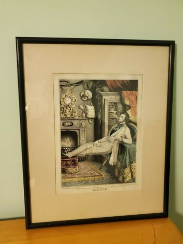 "Original 1846 Hand Colored Lithograph by Sarony & Major Titled ""Single"""