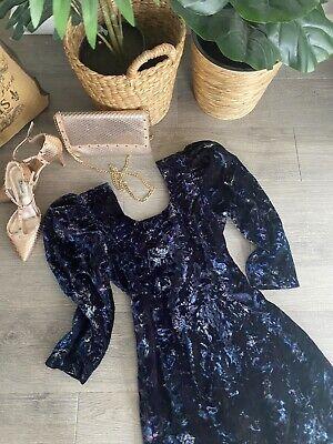 80s Dresses | Casual to Party Dresses 80s VINTAGE Designer Label VELVET Fitted lined DRESS ~PUFF sleeve RoDaRtE! $66.32 AT vintagedancer.com