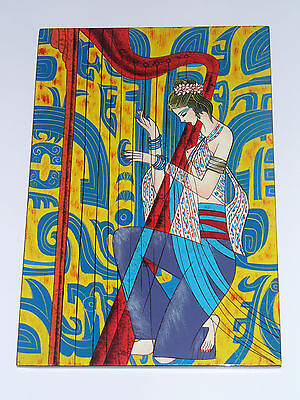 Hand Painted Lacquer Portrait Wall Art Painting Woman with Harp 12 x 8