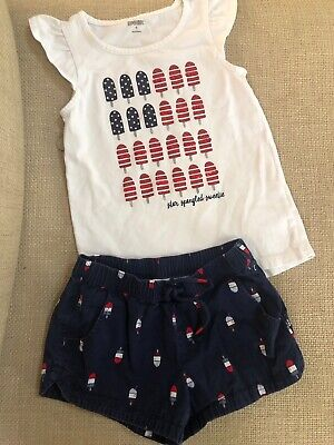 Childrens Star Outfit (Gymboree Girls Size 6 Short Shirt Outfit Star Spangled Sweetie USA Patriotic)