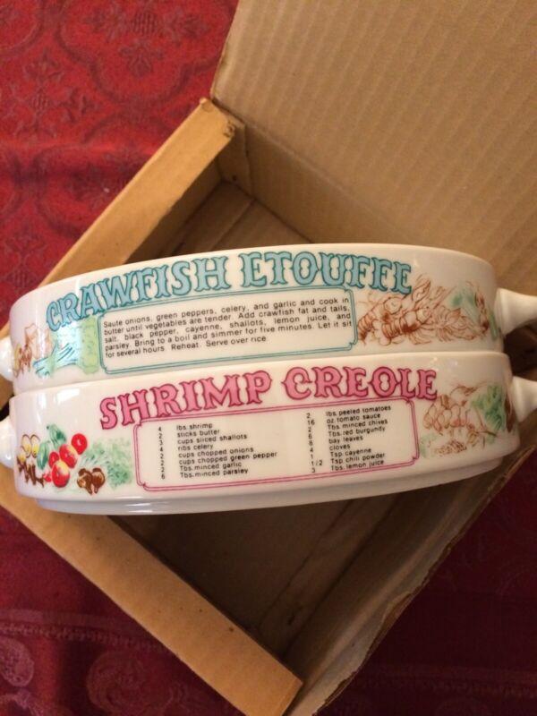 LJungberg Shrimp Creole & Crawfish Etouffe shallow bowls. Vintage original