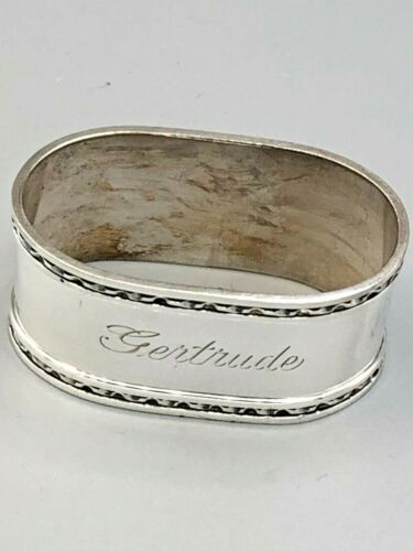 """English Sterling Silver Napkin Ring 1."""" wide, with """"Gertrude"""" engraved on it"""