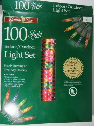 100 Mini Light Set NOS Christmas Holiday Time Multi Color Green Wire A4162