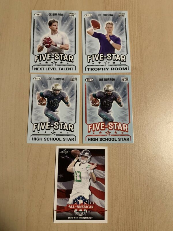 Joe Burrow 2020 Sage Hit & Justin Herbert Leaf Rookie RC Investment LOT of 5
