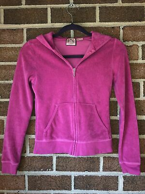 Juicy Couture Classic Terry Cloth Zip Front Track Jacket Hoodie J Pull Zipper S