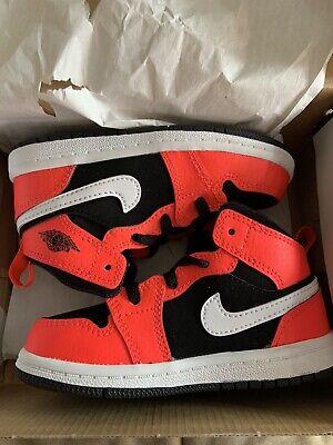 Air Jordan 1 Mid Infrared Nike Boys Girls Toddler Kids Sneakers Shoes 8C 8 C NEW