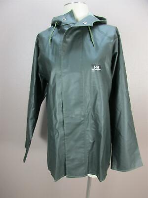 Helly Hansen Size L Mens Dark Green Snap Down Hooded Rain Jacket 620
