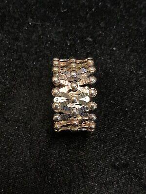 14K Gold Tri Color Expandable Ring To Bracelet. White Yellow Rose Gold Flexible 14k Gold Flexible Bangle