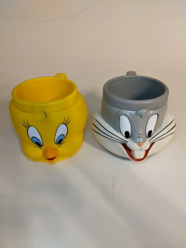 "Vintage Looney Tunes Mugs, 4"" Tall, 3-D Bugs Bunny And Tweety Bird, New"