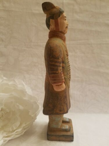 """Painted Chinese Terra Cotta Clay Warrior - 8-1/2"""" Tall"""