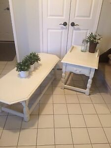 Refinished shabby chic coffee and side table set