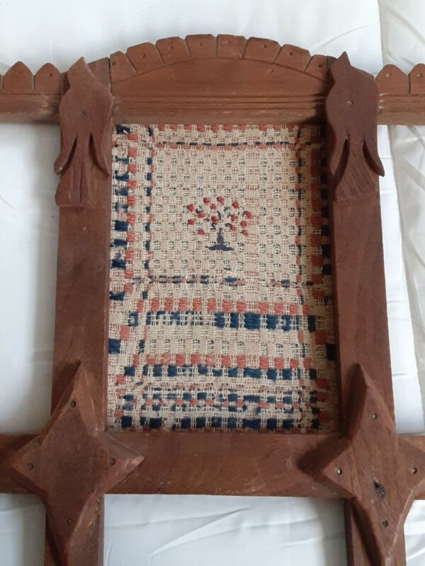 Antique 19th Century American Hand Woven Sampler Gorgeous 1870