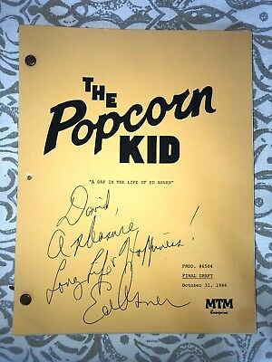 Authentic Ed Asner Autographed Script The Popcorn Kid