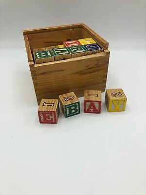"""Lot of 42 Wooden ABC & Number Blocks 1.125"""" & Wooden Box"""