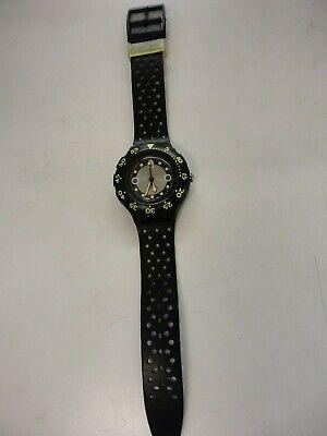 Vintage 1991 Swatch Watch SHAMU BLACK WAVE  Scuba 200