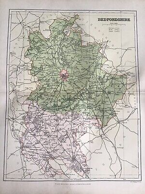 Old Antique Map c1891, BEDFORDSHIRE County Map, FS Weller