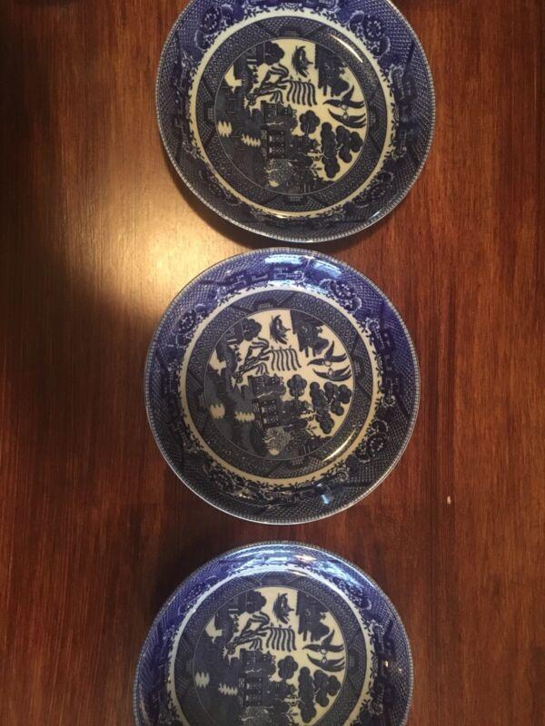 3 VINTAGE JAPAN BLUE WILLOW  FLAT SOUP BOWLS