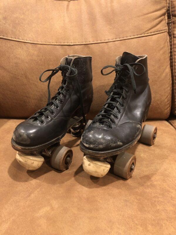 Vintage Chicago Roller Skates Black Size Unknown Toe Brake