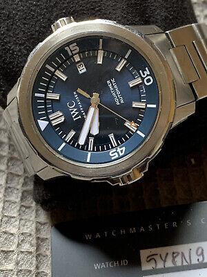 IWC Aquatimer Steel Automatic 42mm Blue Dial Mens Date Watch IW329005