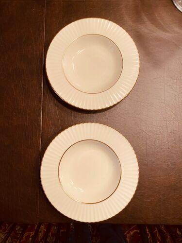 """Lenox Temple Collection Citation Gold Pattern Rim Soup Bowls 8 3/8"""" Qty 2"""