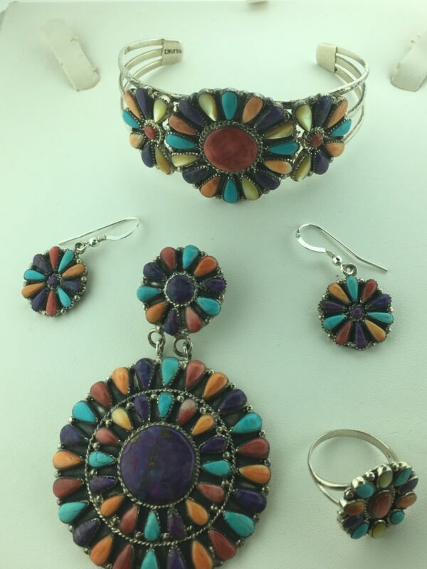 VINTAGE SIGNED SET Multi Color  NECKLACE, PIERCED EARRINGS, CUFF BRACELET,RING
