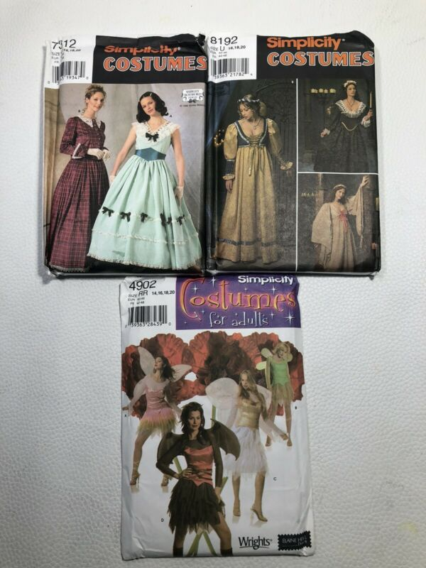 3 Simplicity 7312 8192 4902 Patterns Women Theater Historic Reenactment Costume