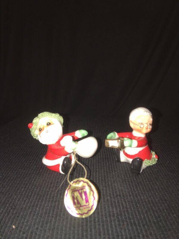 VINTAGE CHRISTMAS CANDLE TOPPER CLIMBER SANTA MRS CLAUS HOLIDAY FIGURINE RETRO