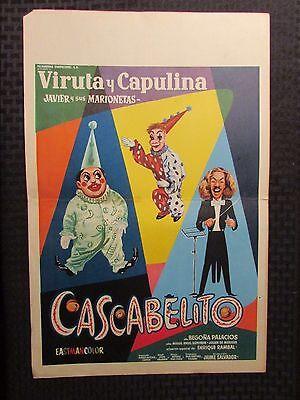 "Vintage Mexican Lobby Card 12.5x19.5"" VG CASCABELITO Creepy Clowns"