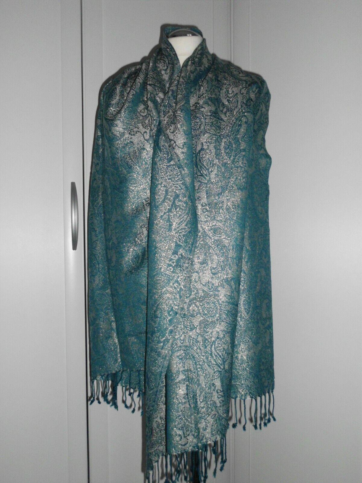 Damen Luxusschal 180 x 75 cm mit coolen Muster grün mit Silberglitzer  von  SHE