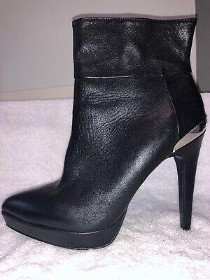 Zara Silver Boots (Zara Black Short Boots Silver Metal Heels 39 8 1/2)